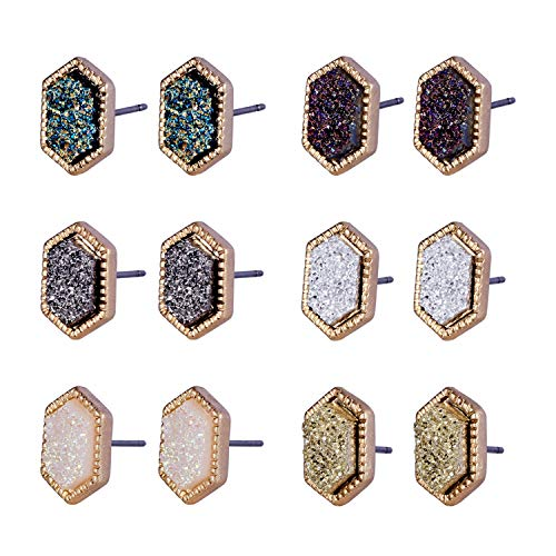 (JOYAGIFT Pretty Cute Druzy Crystal Round Stud Earrings Set for Women Girl Fashion Delicate Pierced Jewelry)