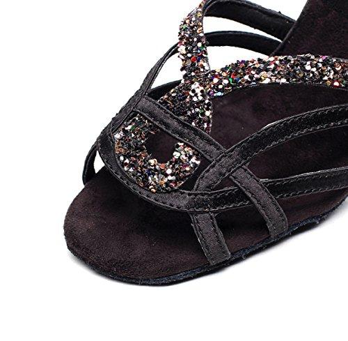 Moderne Pour Bal Black Talons De Floral EU33 5cm Chaussures Danse Chacha Salsa De heeled7 De Jazz Tango Sandales UK3 Femmes Salle Hauts Samba Our34 JSHOE La Latine Satin Chaussures IqaAw8g