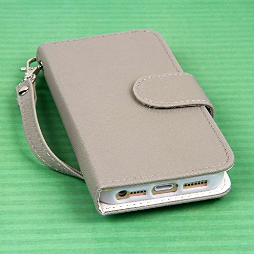MPERO FLEX FLIP Wallet Case Tasche Hülle for Apple iPhone 5 / 5S - Grau