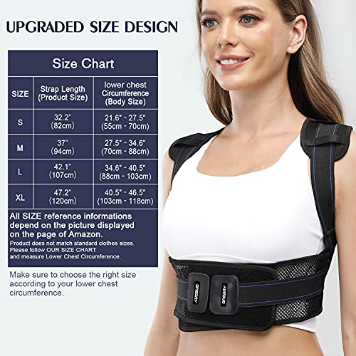 oneday Posture Corrector Back Brace for Men and Women, 4 Sizes Adjustable Back Brace Straightener with 2 Replaceable Support Plates, Professional Breathable Back Support for Back, Neck and Shoulder Pain Relief, Black (Medium)