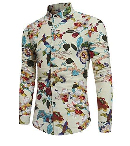 Allthemen Artistique Chemise 07 Longues Multicolore Homme Manches Beige Oq8wTCRg