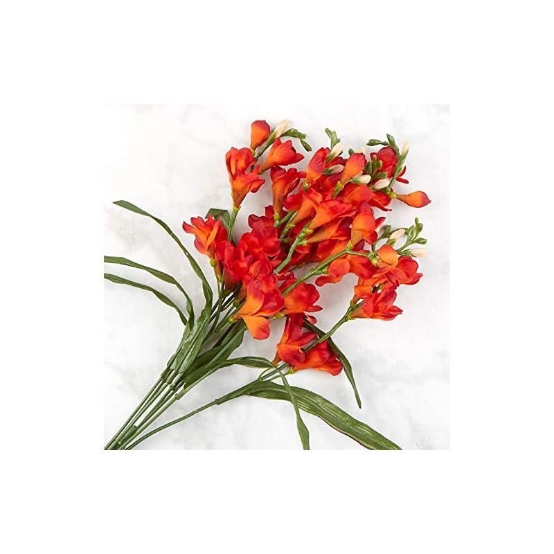 silk flower arrangements orange artificial freesia bush