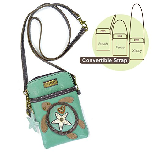 Chala Crossbody Cell Phone Purse-Women PU Leather Multicolor Handbag with Adjustable Strap (Aqua-SeaTurtle) ()