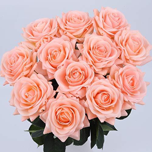 URHomeway Artificial Rose Silk Flowers Bouquet Fake Flower,Real Touch Moisturizing17