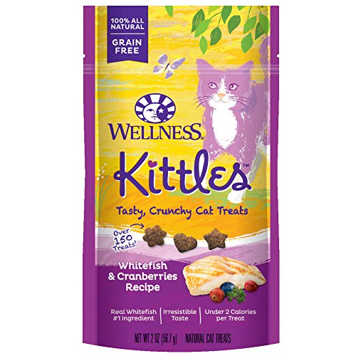 Wellness Kittles Crunchy Natural Grain Free Cat Treats, Whitefish & Cranberries, 2-Ounce Bag