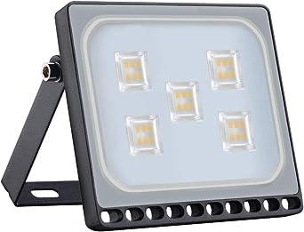 Proyector LED para exteriores, reflector IP65, diseño ultradelgado y ultraligero para jardín, jardín, terraza, cuadrado [Clase de eficiencia energética A ++] (30W, Blanco Cálido): Amazon.es: Iluminación