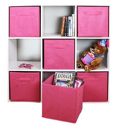 Adorn Home Essentials| Dual Handle Foldable Cloth Storage Cube| Basket, Bins,Containers and Drawer Organizer| 6- Pack -- Pink (Pink Bins)