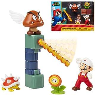 "SUPER MARIO Nintendo Lava Castle 2.5"" Figure Diorama Play Set, Includes: Fire Mario, Spiny, & para Goomba, Mechanical Spinning Fireballs, Block & Fire Flower"