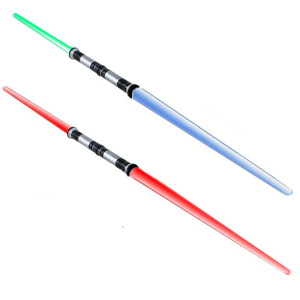 156 cm Doppellaserschwert Sabre de lumière Son 4 boite gratuit, libre changeable Effets de lumière bleu rouge vert Clignotant