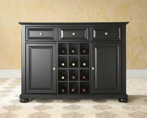 Crosley Furniture Alexandria Wine Buffet / Sideboard - Black (Dropship Wine)