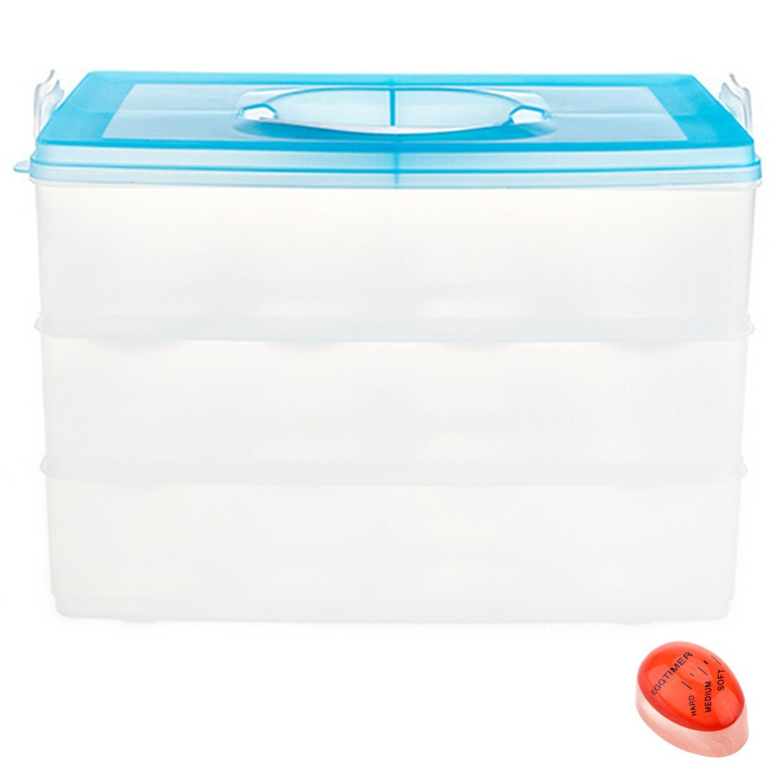 Tosnail 3-Layer Snap Stackable Egg Storage Container Egg Storage Bin with Lid - Bonus 1 Color Changing Egg Timer