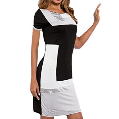 70b35bd40c83 MEIbax Womens Summer Patchwork Sequins O Neck Short Sleeve Cocktail Party  Dress  Amazon.co.uk  Clothing