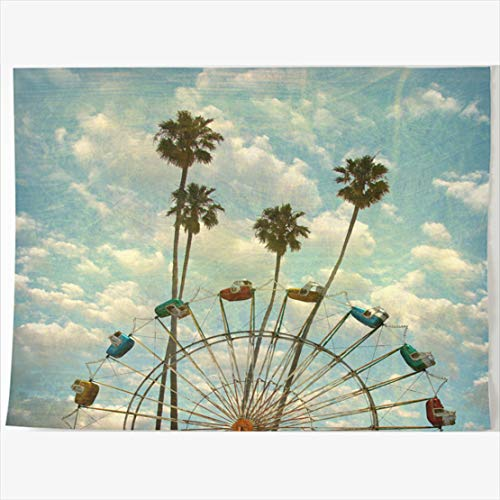 (DIYCow Tapestry Wall Decor 80 x 60 Inches Aged Worn Vintage Ferris Park Wheel Sports Recreation Design Blue Tapestries Wall Hanging Home Decor Home Office Bedroom)