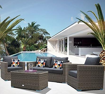 Luxurygarden® Sofá de jardín de ratán 2 plazas salón de ...