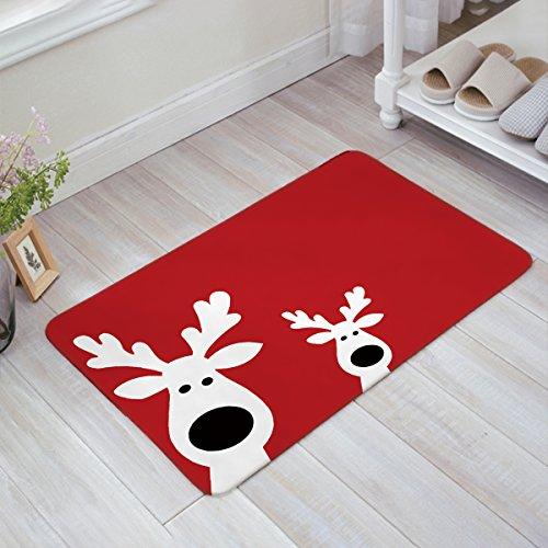 Christmas Peeking Reindeer Home Doormat Non Slip Indoor/Outdoor/Front Door/Bathroom Entrance Mats Rugs Carpet