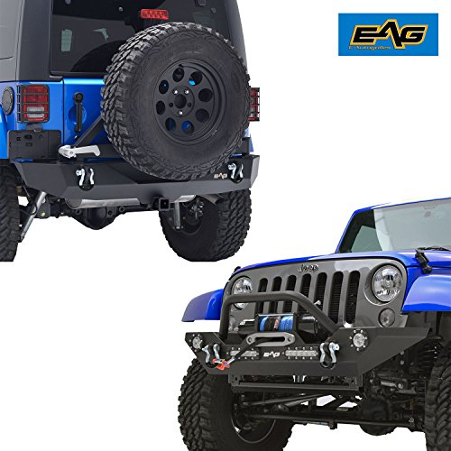 EAG Jeep JK Bumper Combo Front and Rear Bumper - LED Light -Tire Carrier - Hitch Receiver