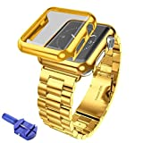 For Apple Watch Series 1/2 42mm, Oksale Stainless Steel Smart Watch Strap Band + Protect Shell Cover Case + Strap Link Remover Repair Tool (Gold)