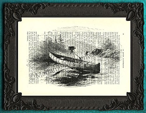 Canoe art print, antique kayak poster for home decoration, boat dictionary page artwork