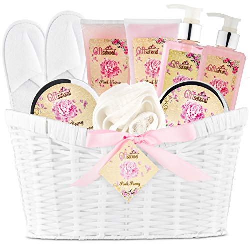 (Spa Gift Basket Pink Peony Spa Bath Set for Women, Perfect Gift For Your Mother, Wife or Friend, Gift Set Includes Bubble Bath, Shower Gel, Body Scrub, Body Lotion, Bath Salts, Body Cream, And More)