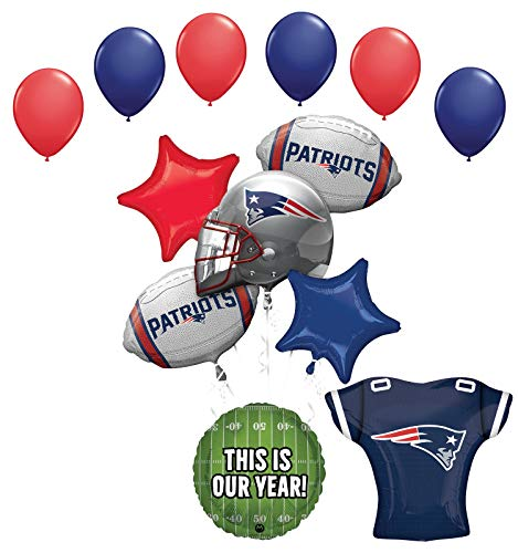 Mayflower Products New England Patriots Helmet, Jersey and Football Party Supplies Balloon Bouquet Decoration