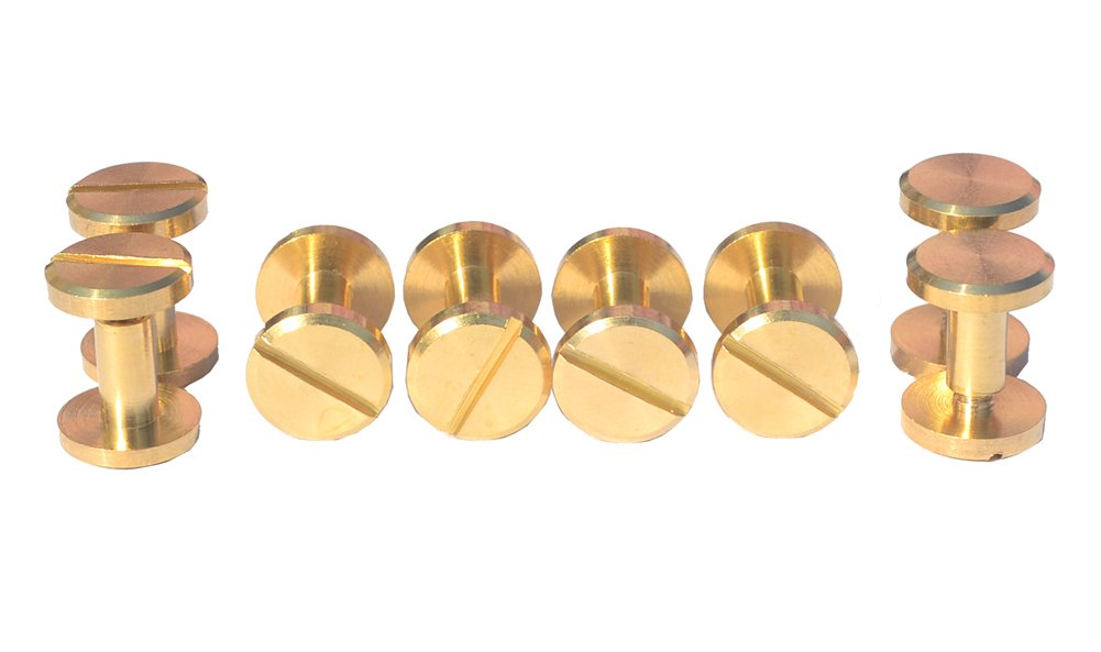 DGOL 12 Pairs Brass Backscrews with Hole Punch Golden Leather Fasteners Sturdy Binding Rivets Belt Strap Collar Back Screws Length 0.237 inch