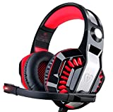 DIZA100 Gaming Headset Noise Isolation Headphones with Microphone Volume Control and LED Light Xbox One Headset for PS4, PC, Mac, Computer-Red