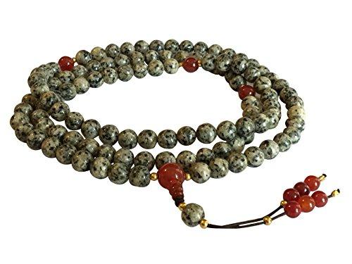 Handmade Tibetan Mala Dalmatian Jasper Mala 108 Beads with Carnelian Guru Bead and Spacers by Hands Of Tibet