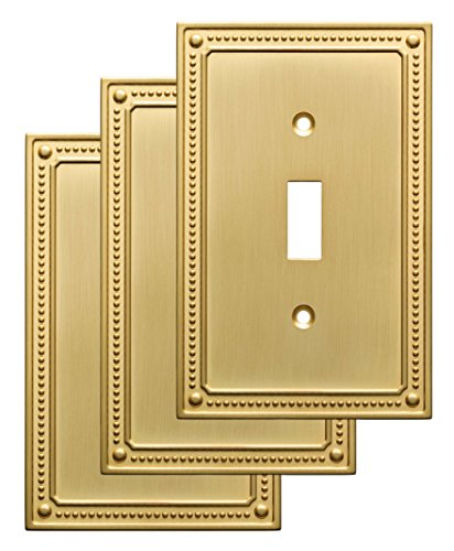 Cover Brass (Franklin Brass W35058V-BB-C Classic Beaded Single Switch Wall Plate/Switch Plate/Cover (3 Pack), Brushed Brass)