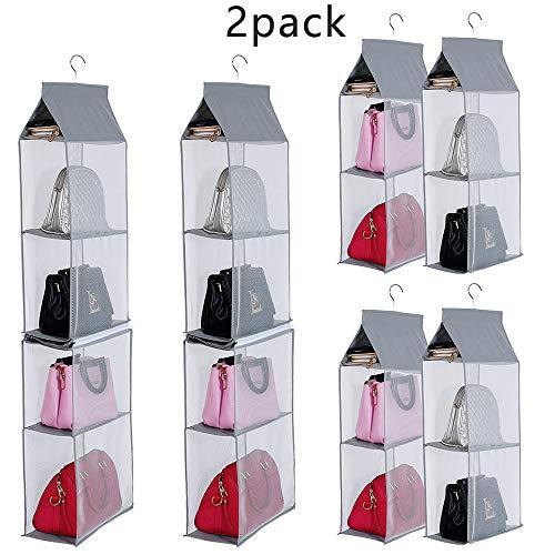 KEEPJOY Detachable Hanging Handbag Organizer Purse Bag Collection Storage Holder Wardrobe Closet Space Saving Organizers System (Pack of 2 Grey) (Purse Storage Organizer)