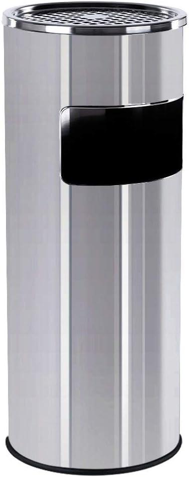 SONGMICS 60,5 x 24,5 cm Pattumiera Posacenere portacenere esterno con cestino portarifiuti integrato 30L Grigio LTB17G