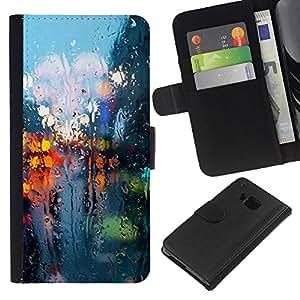 HTC One M7 , la tarjeta de Crédito Slots PU Funda de cuero Monedero caso cubierta de piel ( Rainy Street Lights Reflection City Somber Spring)