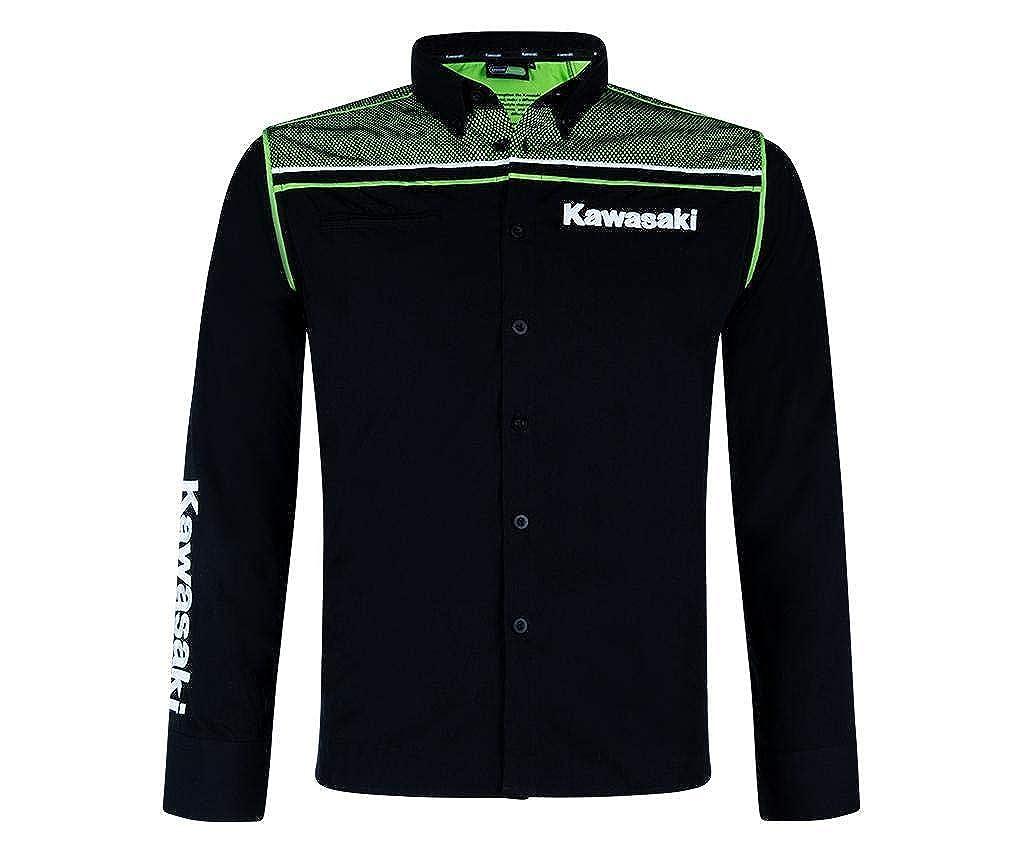 Kawasaki - Camisa Casual - para Hombre Negro Negro y Verde: Amazon ...