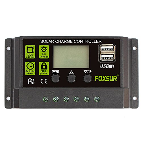 FOXSUR Upgraded Solar Charge Controller 10A PWM Solar Charger Regulator 12V 24V Auto LCD Display with Dual USB 5V Output Load Timer Setting (12V 24V 10A) by FOXSUR