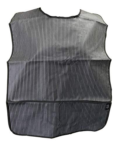 Adult Clothing Protector Bib with Front Pockets (Black Pinstripe)
