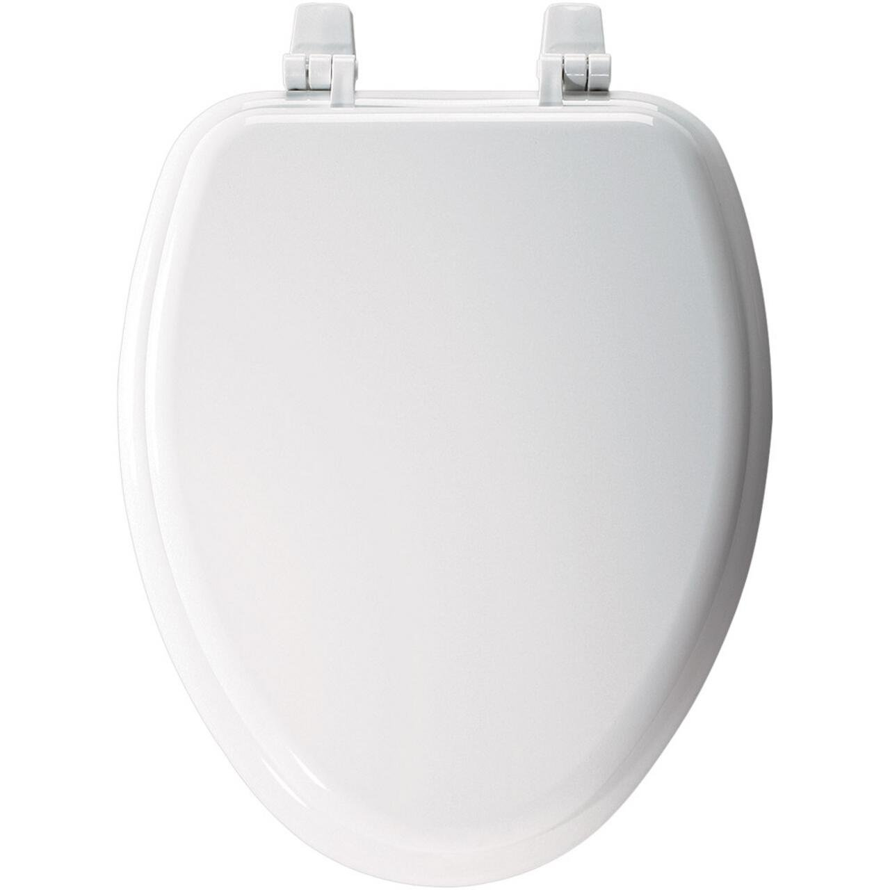 Church 1400TTC 000 Elongated Wood Toilet Seat with Cover, White by Bemis