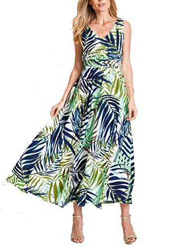 REPHYLLIS Women Chiffon V Neck Vintage Print Floral Maxi Beach Long Wedding Dress