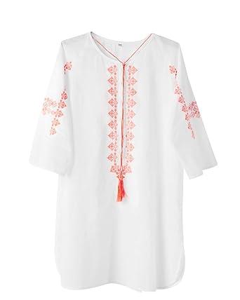 Schlussverkauf genießen Sie besten Preis Online-Einzelhändler ImiLoa Tunika Stickerei weiß Rosa Strandkleid L XL Strand ...