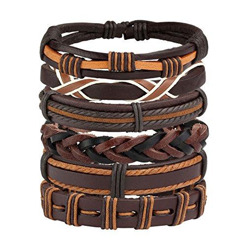 MILAKOO 6 Pcs Leather Bracelet for Men Women Woven Cuff Bracelet Adjustable