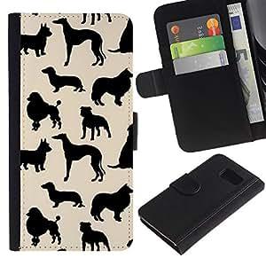 Billetera de Cuero Caso Titular de la tarjeta Carcasa Funda para Samsung Galaxy S6 SM-G920 / dog species pattern black beige / STRONG