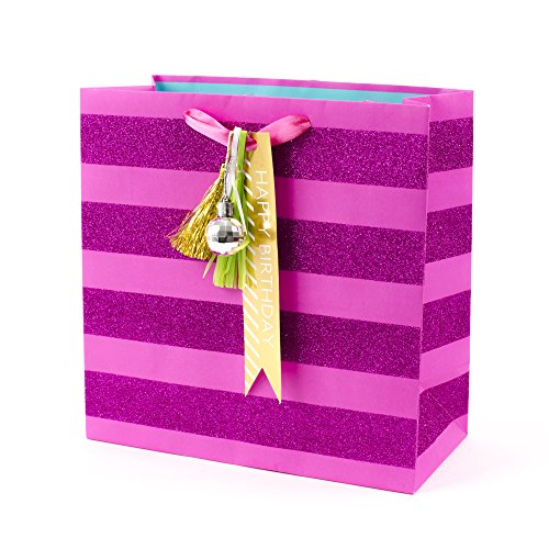 Hallmark Signature Birthday Gift Bag, Large, Pink Glitter Stripe with Gold Tassel