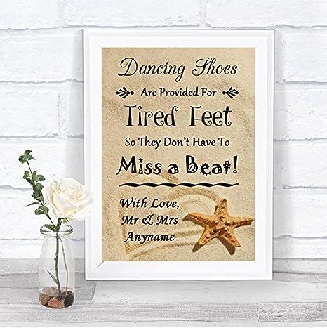 Amazon.com: Cartel de boda personalizable con diseño de pies ...