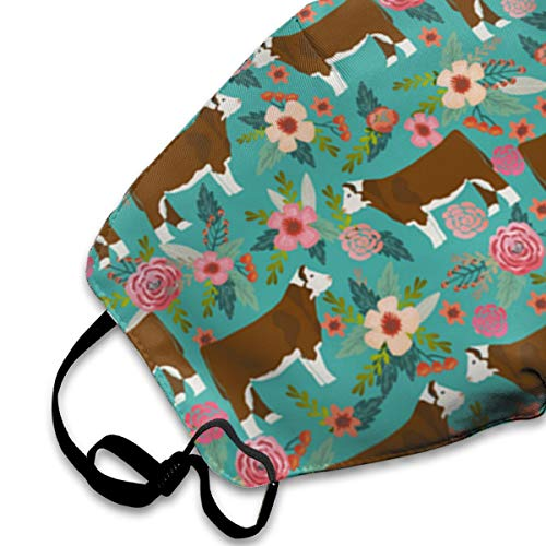 NOT Hereford Floral Fabric Personality Lovely Unisex Dust Mask, Suitable for Young Men and Women, Ski Bike Camping Windproof Motorcycle Face Mask
