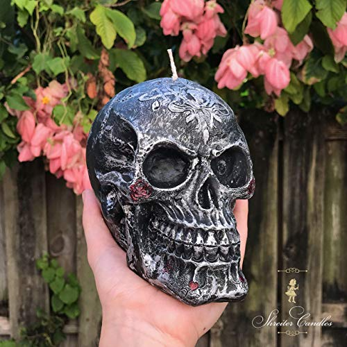Halloween Decoration Handmade Hand Painted Candle Black Silver Vintage Style Skull Parties Decor Interior Decor Halloween Gift for $<!--$40.00-->