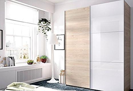LIQUIDATODO ® - Armario de 2 puertas correderas moderno y barato de 150 cm en color blanco brillo y natural: Amazon.es: Hogar
