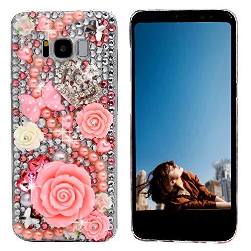 Galaxy S8 Case,Samsung Galaxy S8 Case 3D Handmade Bling Diamonds Pink Roses Bow Pearls Crystal Diamond Crown Shiny Sparkle Rhinestone Gems Clear Full Body Protection Hard PC Cover by Maviss Diary