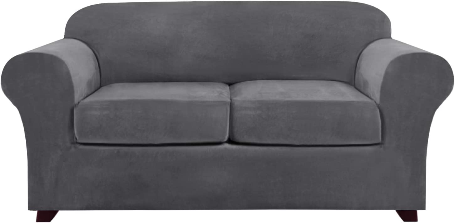 3 Pieces Sofa Covers Stretch Velvet Couch Covers for 2 Cushion Sofa Slipcovers Soft Sofa Slip Covers with 2 Non Slip Straps Furniture Covers with 2 Individual Seat Cushion Covers (Loveseat, Grey)