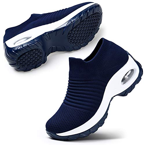 STQ Women's Athletic Mesh Walking Shoes, Lightweight and Breathable Slip-on Sneakers Navy, 9 (Best Work Shoes For Women)