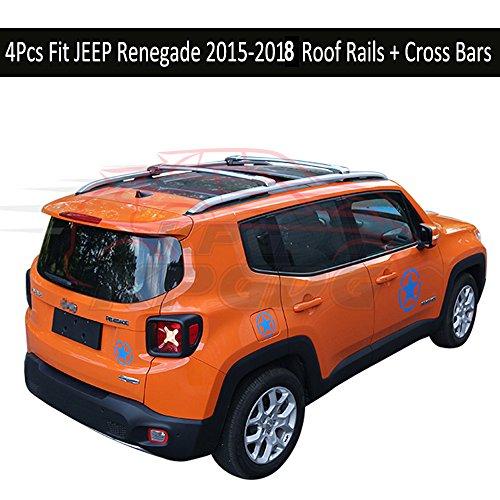 Fit for JEEP Renegade 2015 2016 2017 2018 4Pcs Aluminium Roof Rail Roof Rack Cross Bars Crossbar - Black -  KPGDG, ZYXHGXLJH