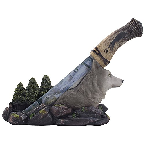 Decorative Gray Wolf Hunting Knife on Display Stand with Stainless Steel Blade for Rustic Cabin & Lodge Decor As Shelf, Mantel or Desk Decorations or Gifts for Hunters and Outdoorsmen