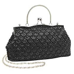 Classic Baguette Style Black Embroidered Beaded Evening Clutch Purse Fashion Bag